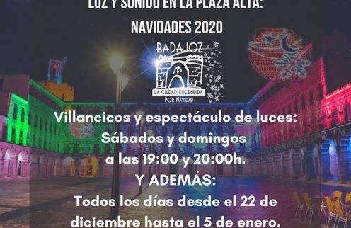 Espectáculo de luces en la Plaza Alta de Badajoz